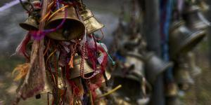 Close-up of prayer bells inside the temple of Muktinath, Mustang District, Gandaki Pradesh, Nepal by Panoramic Images
