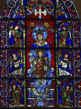 Detail of stained glass representing, Madonna and Child, Chartres Cathedral, Chartres, Eure-et-L... by Panoramic Images