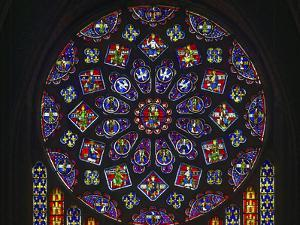 Details of stained glass, the North Rose, Chartres Cathedral, Chartres, Eure-et-Loir, France by Panoramic Images