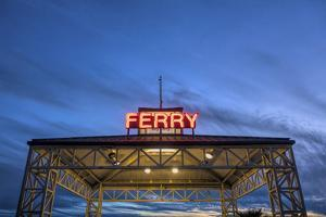 Ferry terminal at dusk, Jack London Square, Oakland, Alameda County, California, USA by Panoramic Images