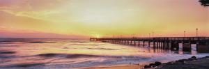 Fishing pier over the sea at dusk, Gulf of Mexico, Venice, Florida, USA by Panoramic Images