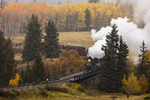 New Mexico, USA - Cumbres & Toltec Scenic Steam Train, from Chama, New Mexico to Antonito, Color... by Panoramic Images