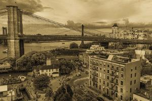 NEW YORK, NEW YORK, USA - Brooklyn Bridge and East River taken from elevated view - sepia tone by Panoramic Images