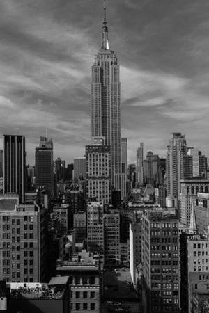 NEW YORK, NEW YORK, USA - Empire State Building New York, NY in black and white by Panoramic Images