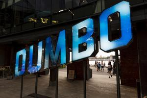 New York, NY, USA - Blue sign for DUMBO, New York, New York by Panoramic Images