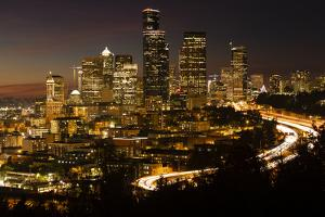 Night view of Seattle, Washington, USA by Panoramic Images