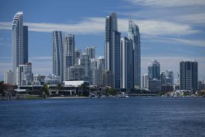 Skylines at the waterfront, Coral Sea, Surfer's Paradise, Gold Coast, Queensland, Australia by Panoramic Images