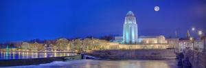 St. Charles Municipal Building at night, Fox River, St. Charles, Illinois, USA by Panoramic Images