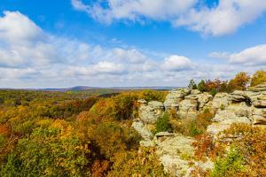 View of Camel Rock and forest, Garden of the Gods Recreation Area, Shawnee National Forest, Illi... by Panoramic Images