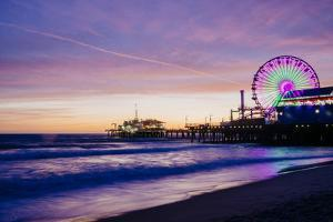 View of Santa Monica Pier at dusk, Colorado Avenue, Santa Monica, California, USA by Panoramic Images