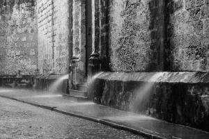 Water spraying from the wall of a cathedral, Catedral San Cristobal de la Habana, Plaza Vieja, H... by Panoramic Images