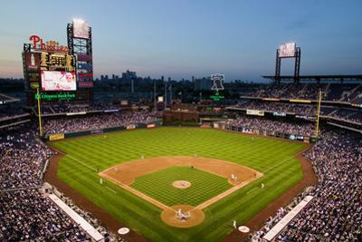 Panoramic view of 29,183 baseball fans at Citizens Bank Park, Philadelphia, PA, who are watching...