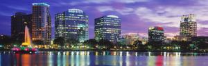 Panoramic View of an Urban Skyline at Night, Orlando, Florida, USA