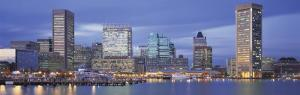Panoramic View of an Urban Skyline at Twilight, Baltimore, Maryland, USA