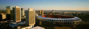 Panoramic view of Busch Stadium and Kansas City skyline at sunset, MO