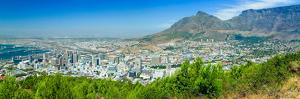 Panoramic view of Cape Town and Table Bay, view of harbor from Table Mountain, South Africa