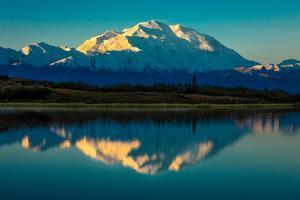 Panoramic view of Mount Denali, previously known as McKinley from Wonder Lake, Denali National P...