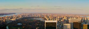 "Panoramic view of New York City and Central Park from ""Top of the Rock"" viewing area at Rockefel..."