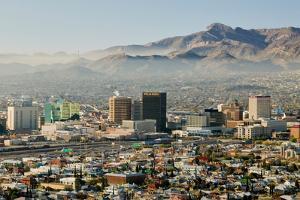Panoramic view of skyline and downtown El Paso Texas looking toward Juarez, Mexico