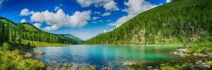 Panoramic View on Mountain Lake in Front of Mountain Range, National Park in Altai Republic, Siberi