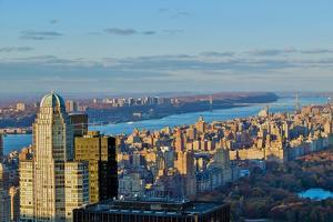 Panoramic views of New York City and Hudson River at sunset looking toward Central Park from Roc...