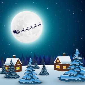 Night Christmas Forest Landscape. Santa Claus Flies Reindeer In by Paola Crash