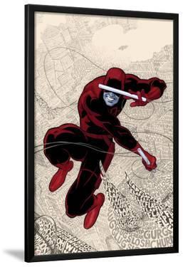 Daredevil No.1 Cover: Daredevl Jumping amidst Sounds by Paolo Rivera