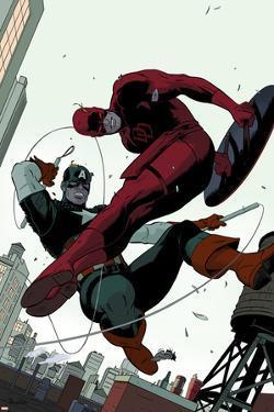 Daredevil No.2 Cover: Daredevil and Captain America Fighting by Paolo Rivera