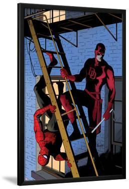 Daredevil No.8 Cover: Daredevil and Spider-Man on the Fire Escape by Paolo Rivera