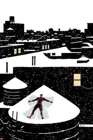 Daredveil No.7 Cover; Daredevil Making a Snow Angel on a Rooftop