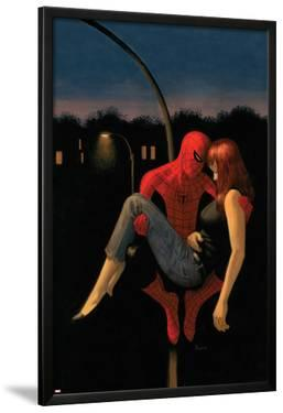 The Amazing Spider-Man No.640 Cover: Spider-Man Holding Mary Jane Watson by Paolo Rivera