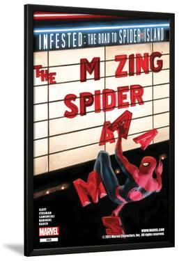 The Amazing Spider-Man No.665 Cover: Spider-Man Falling from the Marquee by Paolo Rivera