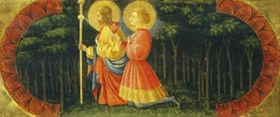 Saints James and Ansano in Prayer, Detail from Quarate Predella