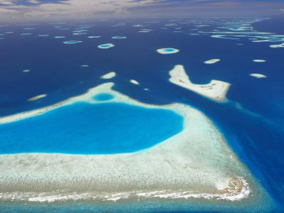 Aerial View of North Male Atoll, Maldives, Indian Ocean