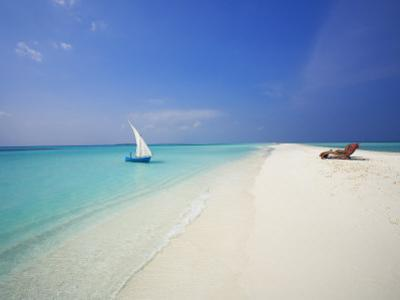 Dhoni and Lounge Chairs on Tropical Beach, Maldives, Indian Ocean