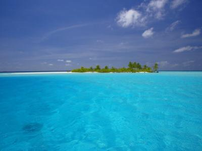 Tropical Island Surrounded by Lagoon, Maldives, Indian Ocean