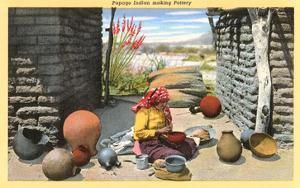 Papago Indian Making Pottery