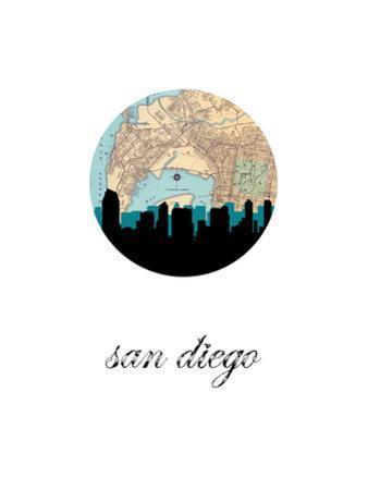 San Diego Map Skyline by PaperFinch