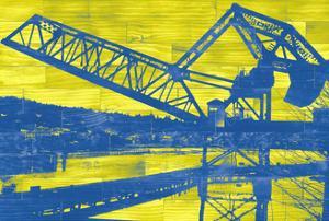 Ballard Train Trestle - Blue and Yellow by Paperplate Inc.