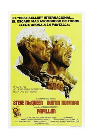 PAPILLON, Spanish language poster, from left: Steve McQueen, Dustin Hoffman, 1973