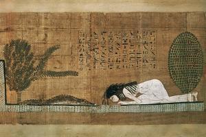 Papyrus of Scene of Worship of the Crocodile God Sobek