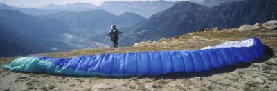 Paraglider Preparing to Start, Mont Blanc, Chamonix, Haute-Savoie, Rhone-Alpes, France