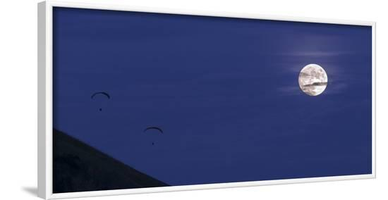 Paragliders and full Moon--Framed Photographic Print