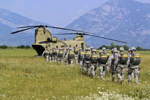 Paratroopers Participate in a Training Jump with a Ch-47 Chinook