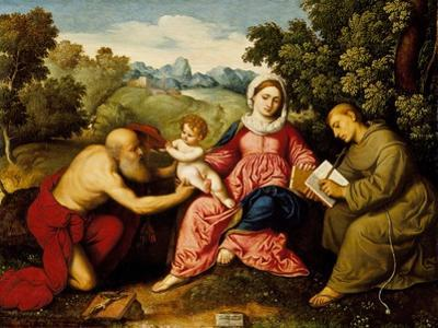 Madonna and child with Saints Jerome and Francis, c.1525 by Paris Bordone