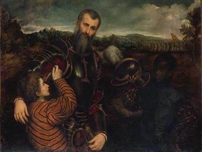 Portrait of a Man in Armor with Two Pages