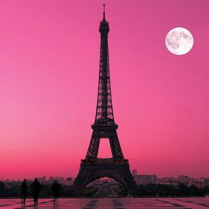 Paris- Eiffel Tower And Moon