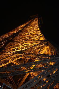 Paris France Eiffel Tower at Night 2 Photo Art Print Poster