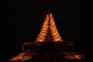 Paris France Eiffel Tower at Night Photo Art Print Poster