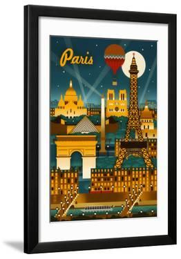 Paris  France - Retro Skyline